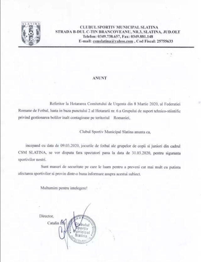 ANUNT-PUBLIC-CSM ANUNT Clubul Sportiv Municipal Slatina