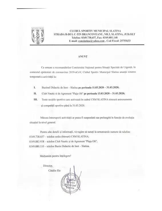 CSM-Slatina-2020 Clubul Sportiv Municipal Slatina sistează temporar activitatea