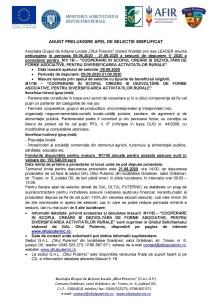 ANUNȚ PRELUNGIRE APEL DE SELECȚIE SIMPLIFICAT măsura  M1/1B