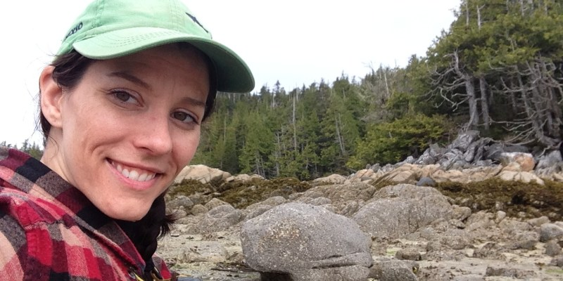 Archaeology professor Dr. Meghan Burchell in the field on North Calvert Island, B.C.