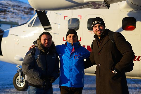 From left, Satria Kusuma, Deniz Sariguzel and Mohammed Kasmi in Nain.