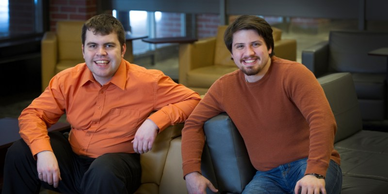 From left are engineering students Robert Shea and Brian Peach.