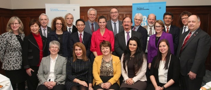 Dr. Terry-Lynn Young, front row, far left; and Dr. Gary Kachanoski, standing, middle row, far right, were among delegations on Parliament Hill on Feb. 24