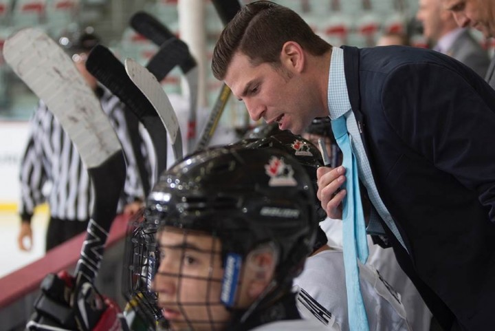 Alumnus Ryan O'Connor coaches his team during the 2015 Canada national under-17 development camp.