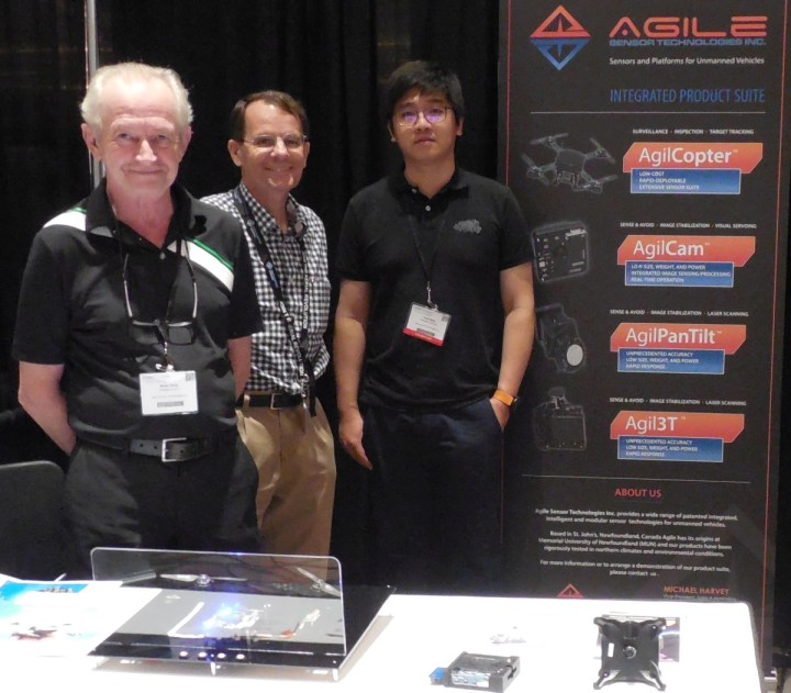 From left are Agile employees Brian Terry, president and CEO; Michael Harvey, vice-president (sales and marketing); and Teng Wang, applications engineer at a drone trade show in Las Vegas, NV, in 2015.