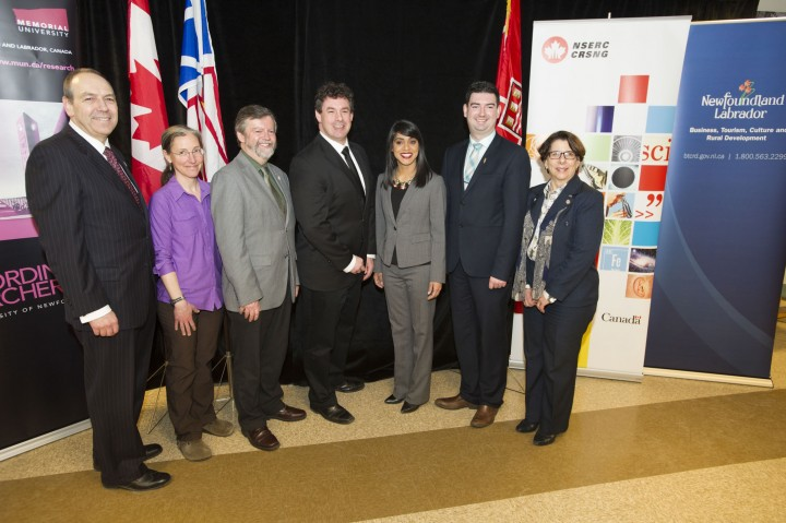 From left are Dr. Richard Marceau, Dr. Susan Ziegler, Dr. Paul Snelgrove, Nick Whalen, Bardish Chagger, Christopher Mitchelmore and Pamela Moss at the March 2 funding announcement in the Earth Sciences building.