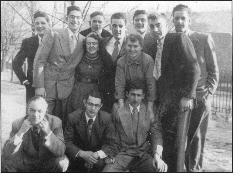 Dr. Roger Peattie, standing first at left, as a young man at the United Church College Residence on Long's Hill, St. John's.