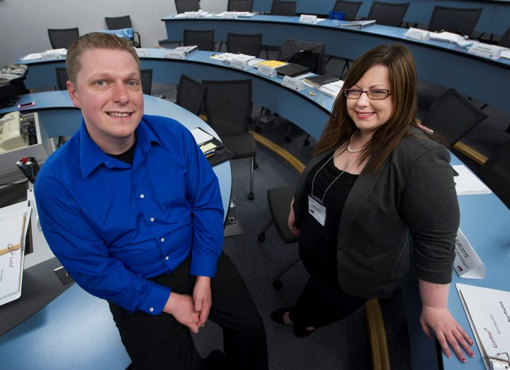 From left are Phillip Guy and Courtney Clarke of the Back to Business program.