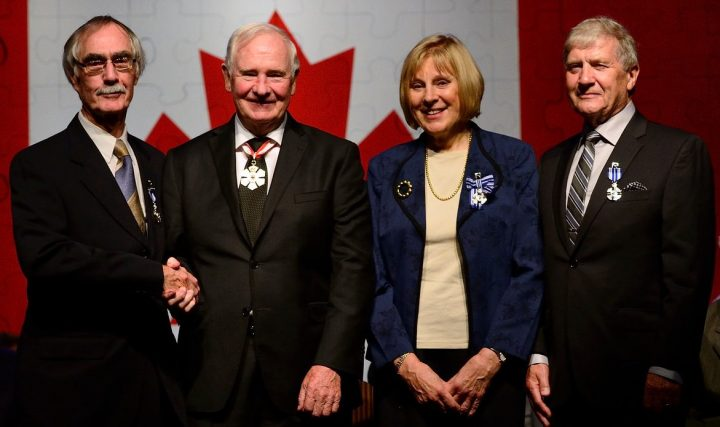 From left are Dr. Harold Paddick, Gov. Gen. David Johnston, Dr. Sandra Clarke and Prof. Robert Howlett.