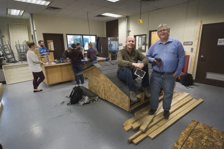From left, Dr. Gerald Galway and Prof. David Gill in the Faculty of Education's Technology Education Centre.