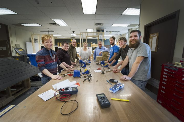 Some education students making use of the makerspace in the Faculty of Education.