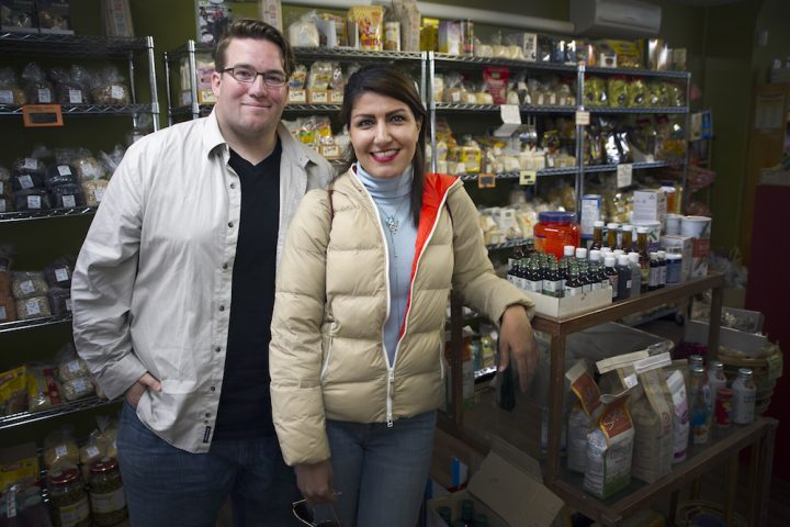 From left are Shannon O'Rourke and Elahe Nezhadhossein at Food for Thought on Gower Street, a local business included on the wiki.