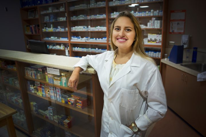 Brazilian visiting student Marina de Assis Florentino in the School of Pharmacy lab.