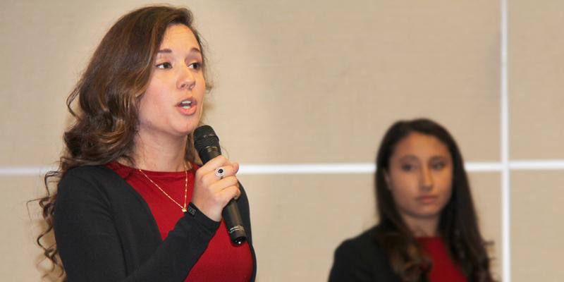 Emily Bland, president of Enactus Memorial, speaks at the team's hometown showcase on Sept. 21.