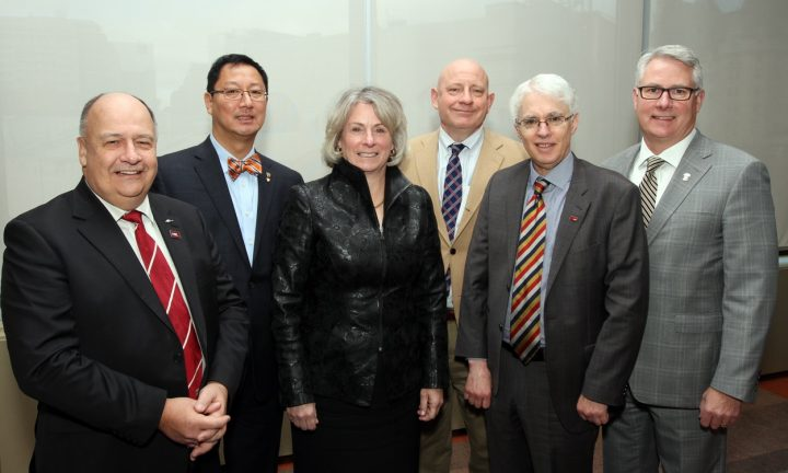From left are university presidents Gary Kachanoski, Memorial University; Santa Ono, UBC; Elizabeth Cannon, University of Calgary; David Docherty, Mount Royal; Andrew Petter, SFU; and Mike Mahon, University of Lethbridge.