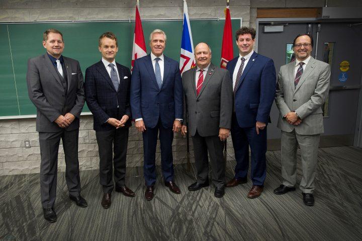 From left, Colin Holloway, Seamus O'Regan, Premier Dwight Ball, Dr. Gary Kachanoski, Nick Whalen and Dr. Rob Greenwood.