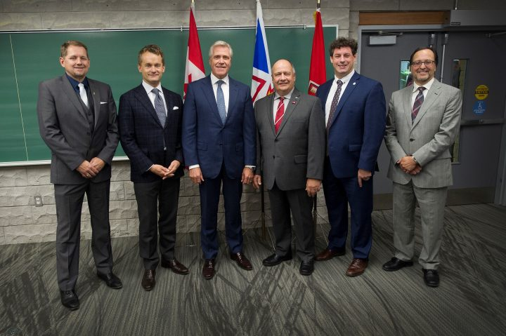 From left, Colin Holloway, Seamus O'Regan, Premier Dwight Ball, Dr. Gary Kachanoski, Nick Whalen and Dr. Rob Greenwood.
