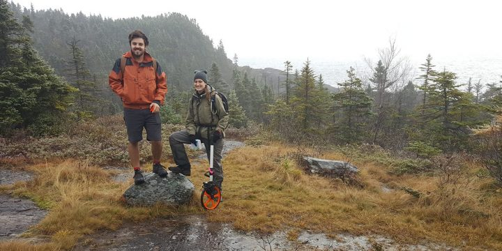 Evan Cottrell (folklore), Michelle Valliant (biology and Advanced GIS) on the East Coast Trail.