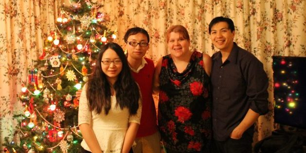 From left are Jasmine Jiang (from China), Nan An (from China), Amy Tam, and Francis Tam, participants in the 2014 Holiday Hosting Program.