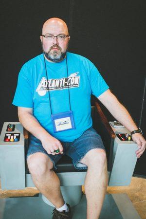 Jeff Keeping in his replica Star Trek captain's chair.
