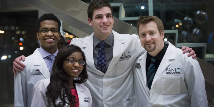 Members of the Class of 2019 pose for a picture at the 2016 White Coat Ceremony.