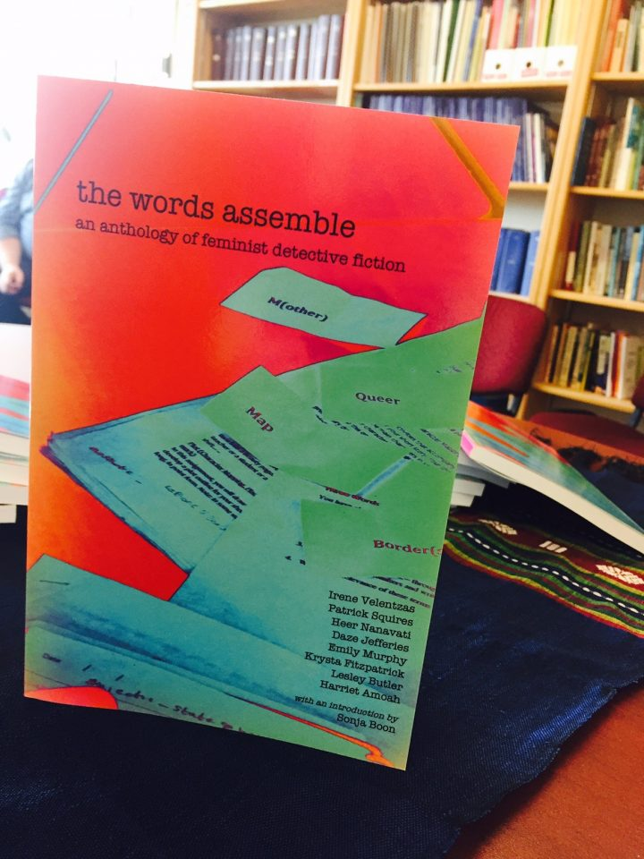 A copy of The Words Assemble: An Anthology of Feminist Detective Fiction.