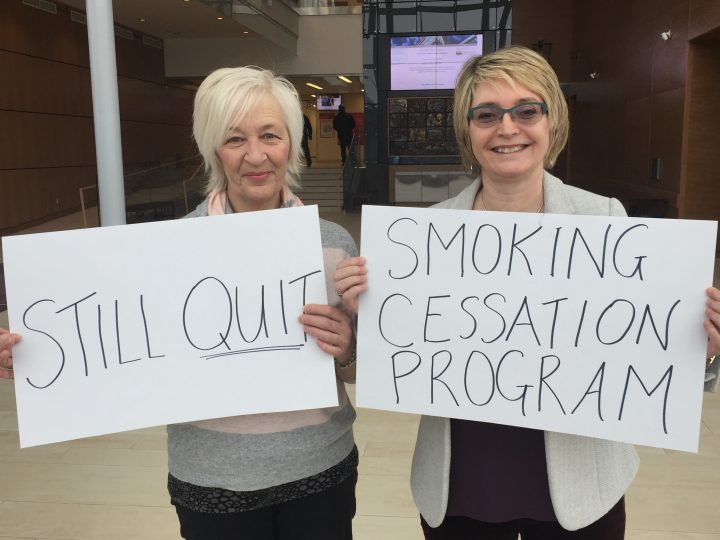 Dr. Leslie Phillips (right) with Karen Brown. Dr. Phillips counselled Ms. Brown to quit smoking three years ago.
