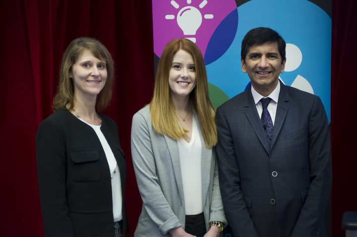 From left are Dr. Lisa Bishop, Jillian McInnis and Dr. Jeremy Desai. Ms. McInnis participated in the Summer Research Program under the sponsorship of Apotex.