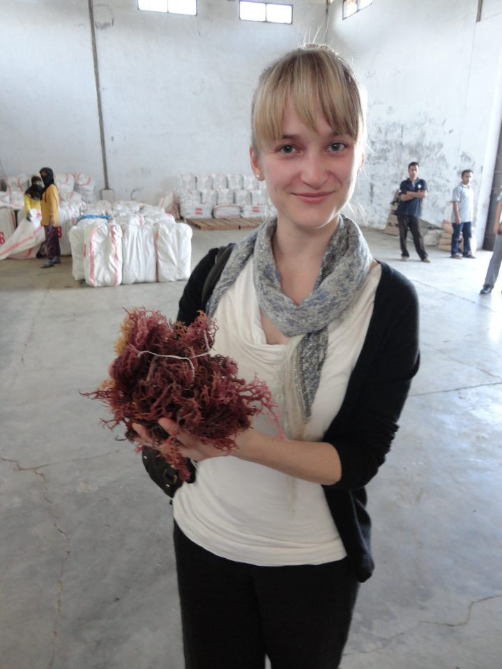 MacKenzie Young, project co-ordinator, MI, visits Kospermindo's seaweed warehouse in Kima, Indonesia.