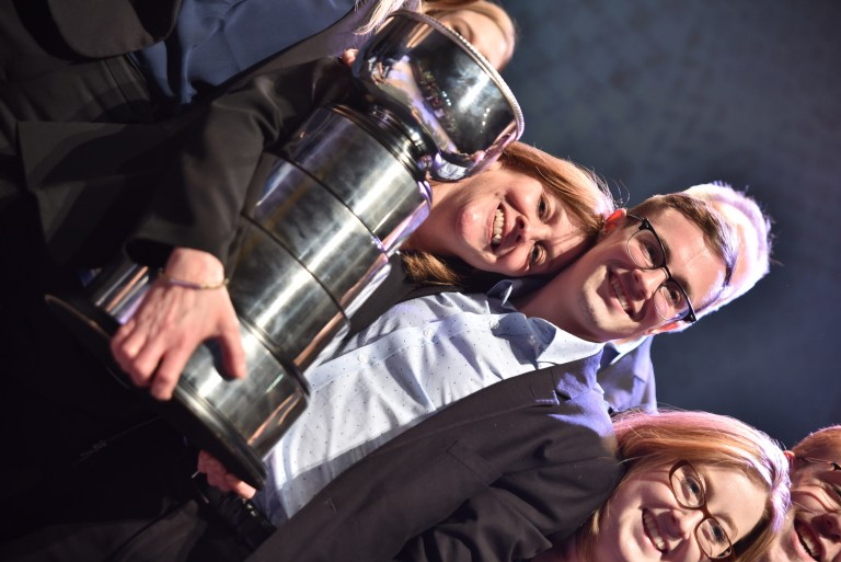 Prof. Lynn Morrissey and her son, Shaun, enjoy the winning moment.