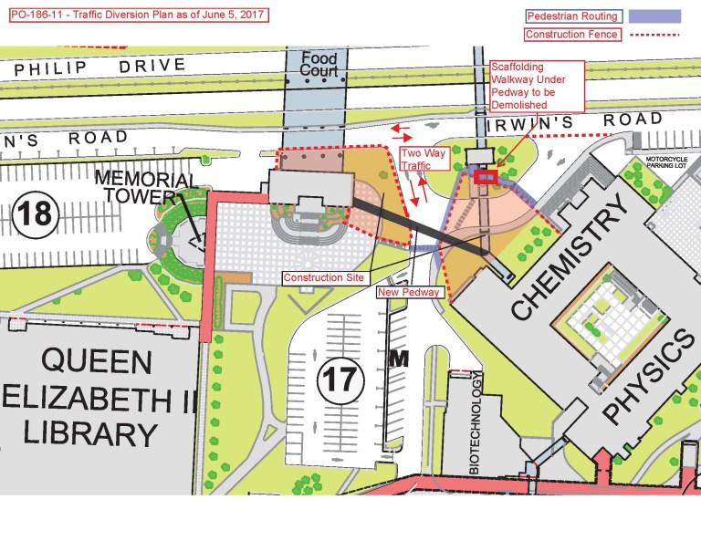 Traffic map showing traffic between the University Centre and the existing pedway's south stairwell will be temporarily converted to two-way.