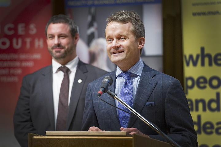 From left, Nick Whalen and Seamus O'Regan at the launch.
