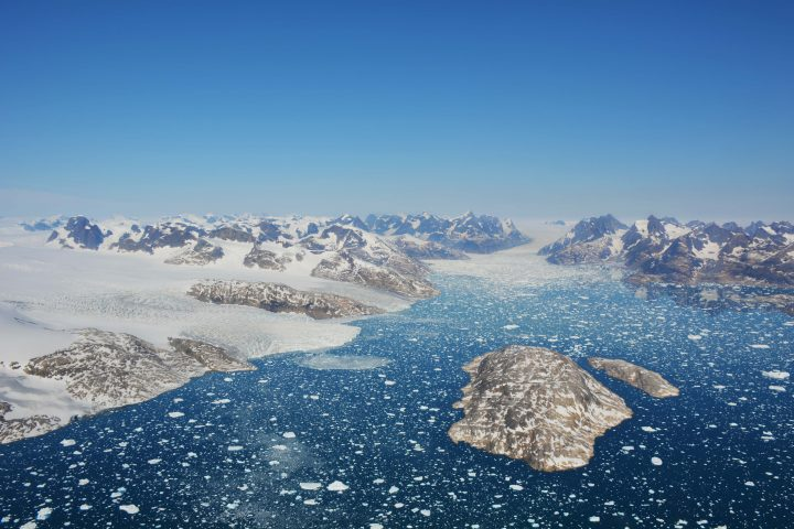 Glaciers from the Greenland ice sheet draining into the ocean.