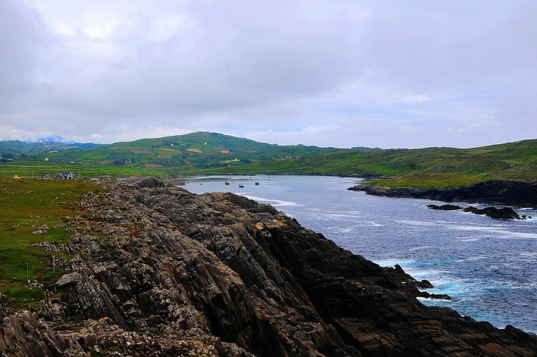 Layered sandstone and shale at White Ball looking towards Canalough, Ireland.