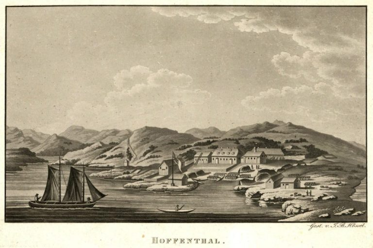aquatint engraving of Hopedale ca 1800