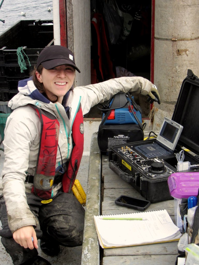 Emilie Novaczek works on mapping the ocean floor in Conception Bay
