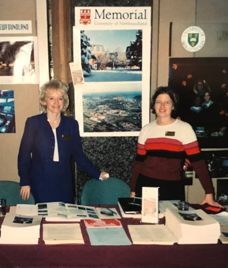 From left, recruiters Shona Perry-Maidment and Carol Tibbo in 1996-97.