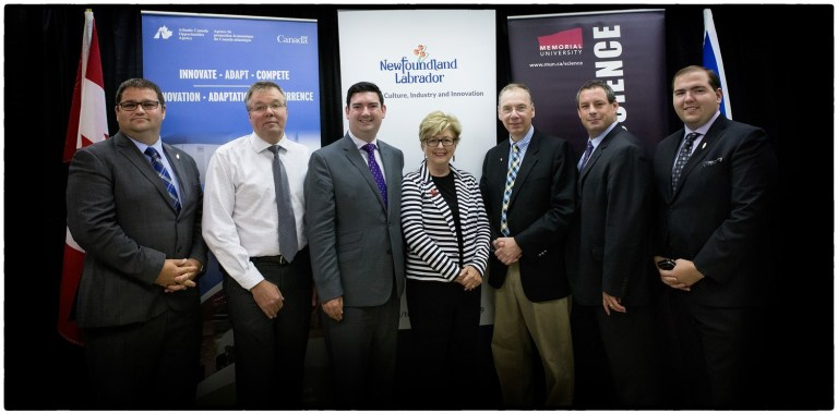 L-R: Bernard Davis, MHA, Virginia Waters – Pleasantville; Dr. Kurt Gamperl, researcher at the Department of Ocean Sciences; Christopher Mitchelmore, provincial minister of Tourism, Culture, Industry and Innovation (TCII); Dr. Susan Dyer Knight, chancellor, Dr. Ray Gosine, vice-president (research); Nick Whelan, MP for St. John's East; Mark Browne, parliamentary secretary to the minister of TCII.