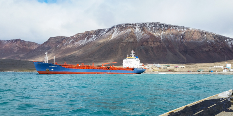 A tanker called the Travestern, owned by the Woodward Group of Companies, is pictured in Grise Fiord, the most northerly community in Nunavut.