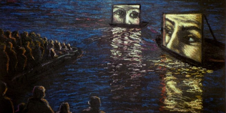 Painting of floating movie screens in the water, with people watching from a beach.