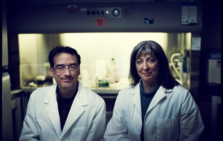Drs. Robert Gendron and Hélène Paradis in their lab in the Health Sciences Centre
