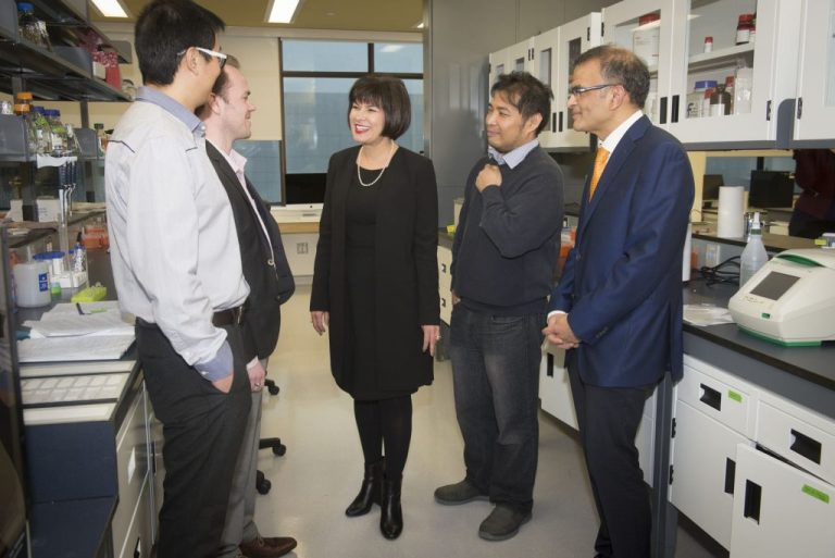 From left are Dr. Dake Qi, Dr. Craig Moore, Minister Ginette Petitpas Taylor, Dr. Francis Bambico and Dr. Proton Rahman on Jan. 24.
