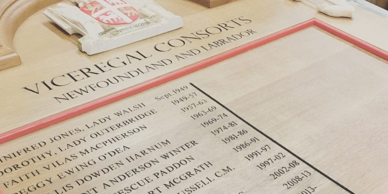 The Department of Technical Services manufactured a new wooden panel featuring the names of Viceregal Consorts – the partners of current and past Lieutenant Governors of Newfoundland and Labrador.