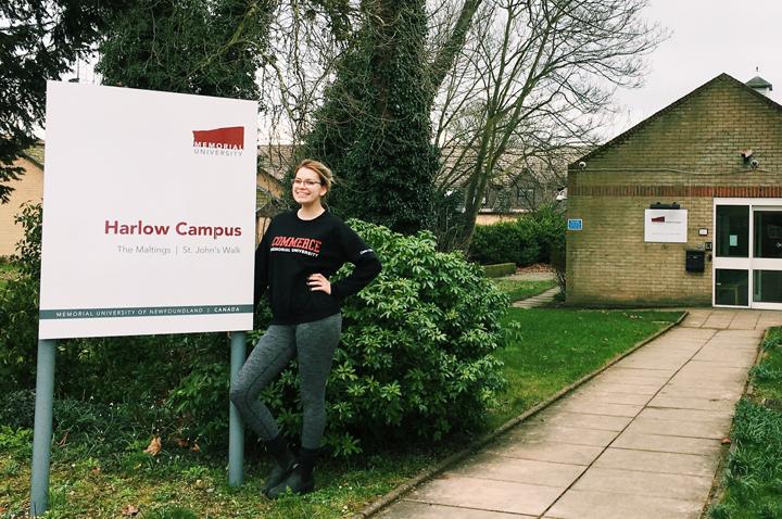 Commerce student Nicole Noseworthy at Memorial's campus in Harlow, U.K.