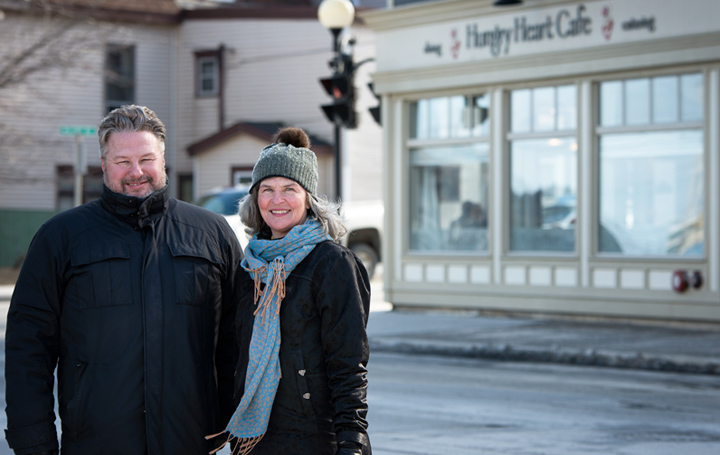 Dr. Tom Cooper, left, and Kim Todd in front of Hungry Heart Cafe, a social enterprise in St. John's.