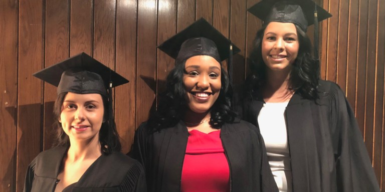 From left are Chelsea Howell, Taejha Young and Vanessa McLean, bachelor of engineering graduates at Memorial University's spring convocation.