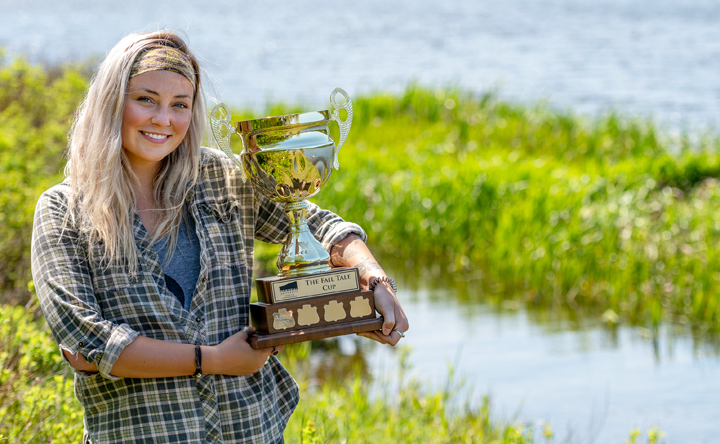 Megan Meadus holds the Fail Tale Cup which she won this year from the Memorial Centre for Entrepreneurship.