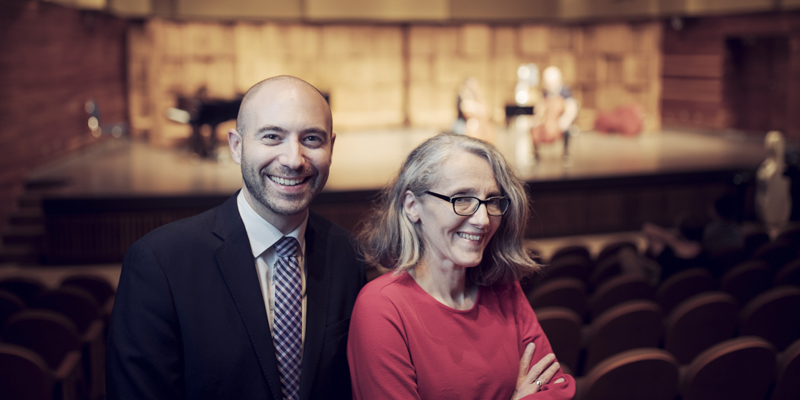 Dr. Ian Sutherland and Dr. Isabelle Dostaler at Memorial University's School of Music.