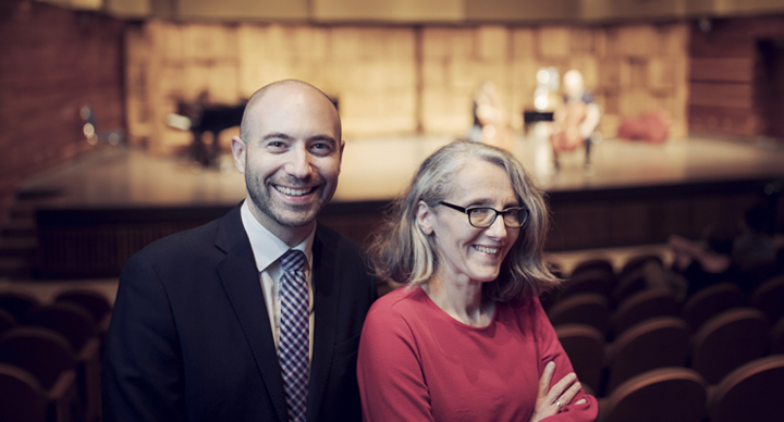 Dr. Ian Sutherland and Dr. Isabelle Dostaler, deans of Memorial's School of Music and Faculty of Business Administration respectively, pose for photos at Memorial University's School of Music.