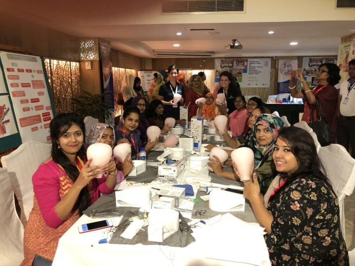 Delegates participating in the Uterus Compression Suturing Workshop to Manage Postpartum Hemorrhaging as part of Team Broken Earth's International Course on High Risk Labour and Delivery in September 2018. The uterus models were designed and developed by MUN Med 3D.